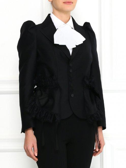 Жакет из шерсти и шелка с объемными рукавами и кружевом - Модель Верх-Низ