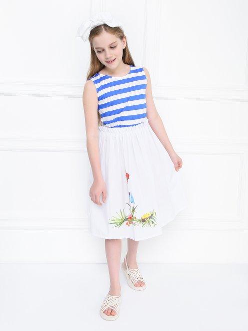 Платье трикотажное с полосатым верхом - Общий вид