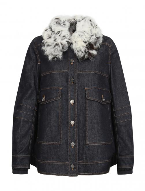 Куртка из денима с меховым воротником - Общий вид