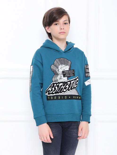 Толстовка хлопковая с объемным принтом - МодельВерхНиз