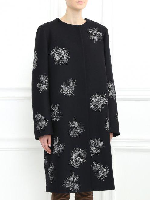 Пальто декорированное вышивкой - Модель Верх-Низ