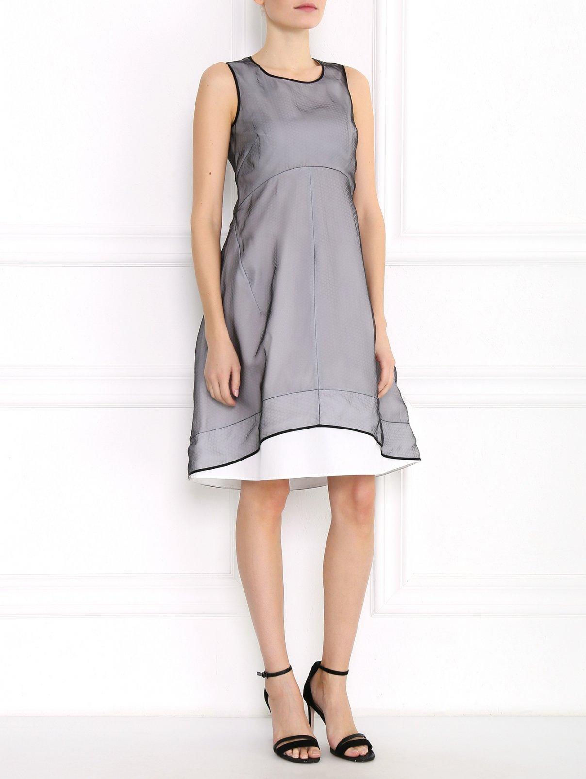 Платье-миди из полиэстера и хлопка с контрастной отделкой Jil Sander  –  Модель Общий вид