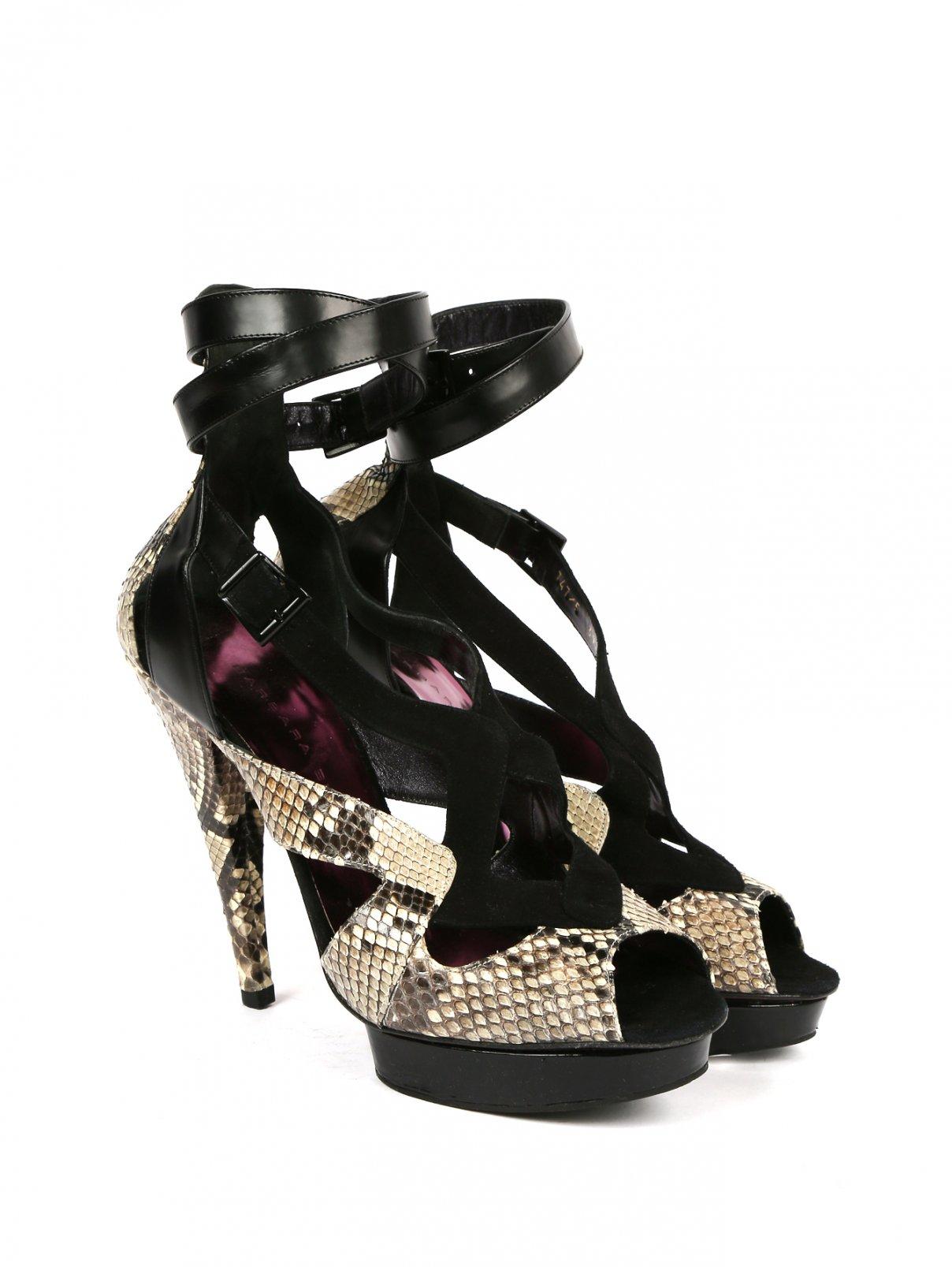 Босоножки из кожи питона на высоком каблуке Barbara Bui  –  Общий вид  – Цвет:  Узор