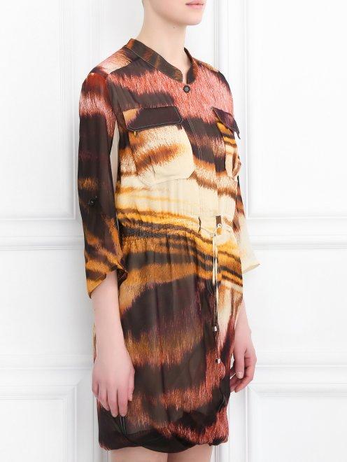 Платье-мини из шелка асимметричного кроя с узором - Модель Верх-Низ