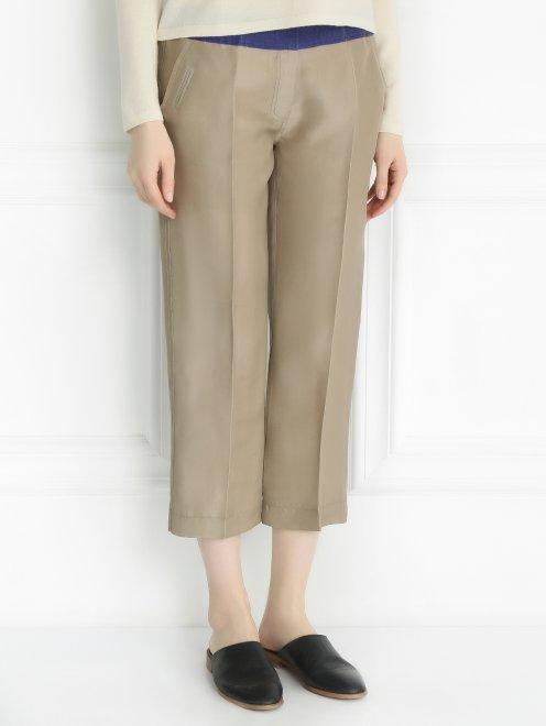 Укороченные брюки из шелка - Модель Верх-Низ