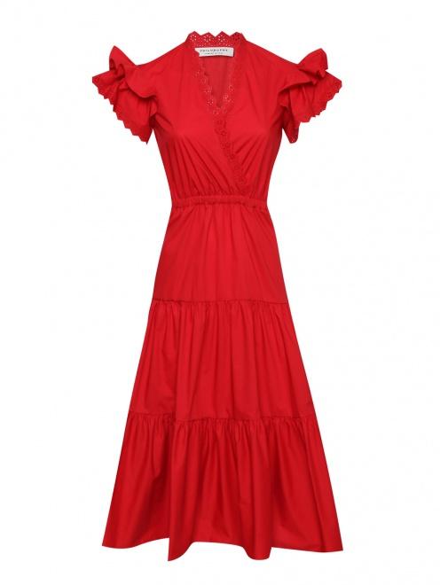 Платье-миди из хлопка с короткими рукавами - Общий вид