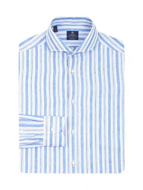 Рубашка из хлопка и льна с узором полоска - Общий вид