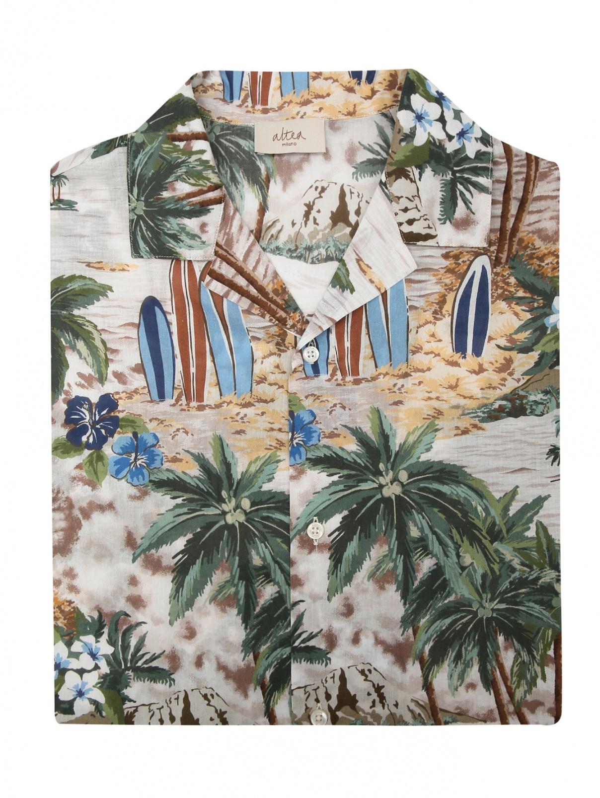 Рубашка из хлопка с коротким рукавом Altea  –  Общий вид  – Цвет:  Узор